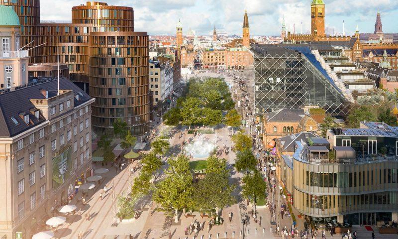 Visualisering af bypark på Vesterbro Passage ved Tivoli. @Tivoli_Gehl Architects