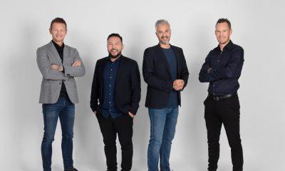 En del af ejerkredsen i Min By Media  Fra venstre Mads Peter Veiby, Jes Lennert, Michael Qureshi og Thomas Enevoldsen