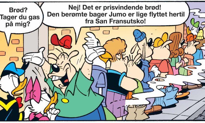 Jumo og Sanfransutsko - et udklip af den satiriske hyldest til Københavns nye bagerier, der udkommer i Anders And & Co nummer 47, der har Peter Falktoft som debuttant-forfatter bag. Foto: Egmont Publishing