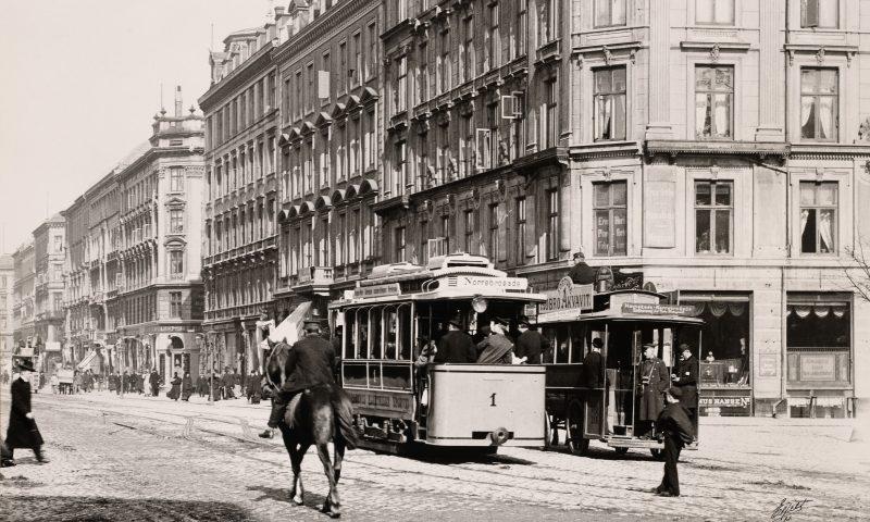 Sådan så Nørrebrogade ud i 1897. Foto: Nationalmuseet