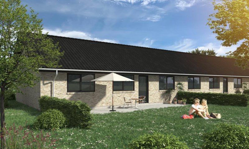 Energivenlige rækkehuse med grønne fællesområder på vej i Kirke Hyllinge. Foto: Home