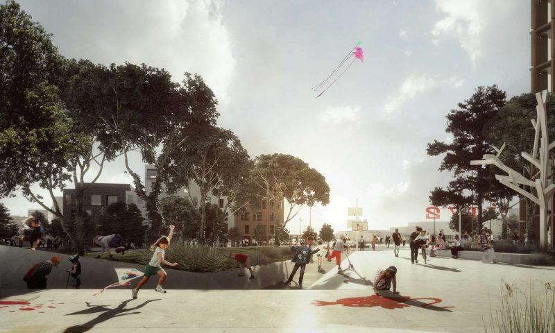 Visualisering af den nye skatepark. Foto: Cobe